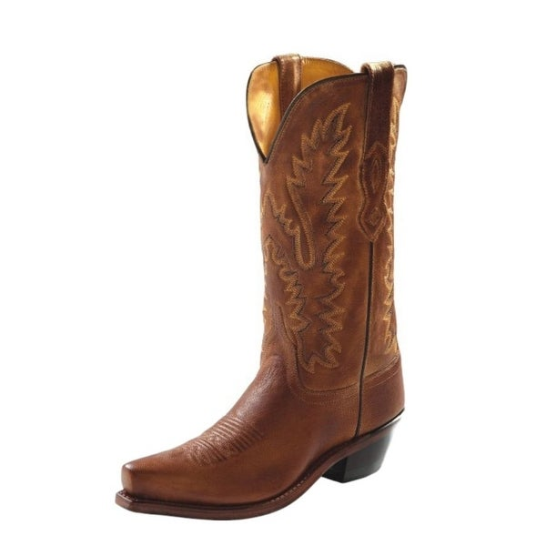 Old West Cowboy Boots Womens Leather Goodyear Tan Canyon