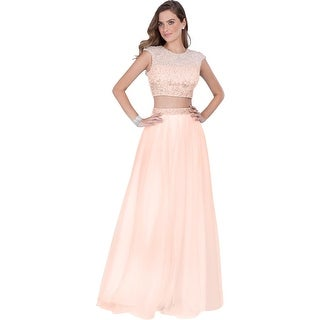 Terani Couture Pearl Prom Crop Top Dress