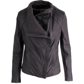 Elie Tahari Womens Andreas Leather Long Sleeves Jacket