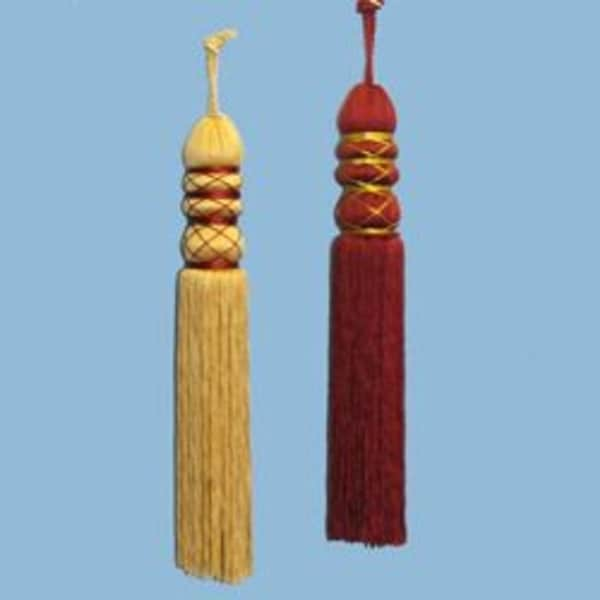 Set of 2 Asian Fusion Burgundy and Gold Thread Tassel Christmas Ornaments 8""