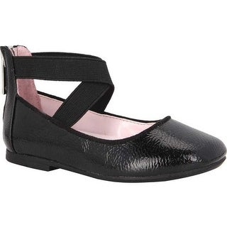 Nina Girls' Marissa Cross Strap Shoe Black Crinkle Patent