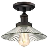 """Westinghouse 6336100 LEXINGTON 1-Light 9-7/8"""" Wide Semi-Flush Ceiling Fixture with Clear Glass Shade - Oil Rubbed bronze"""