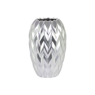 Round Ceramic Vase With Embossed Wave Design, Large, Matte Silver