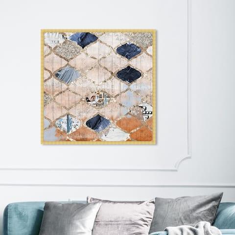 Oliver Gal 'Modern Moroccan' Abstract Framed Wall Art Prints Patterns - Orange, Blue
