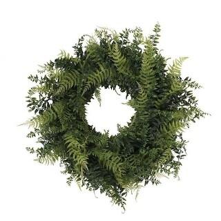 Vickerman FQ171924 24 in. Buckler Fern & Grass Wreath - Green