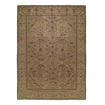 """Shahbanu Rugs Vintage Persian Mahal With Apricot Wash Full Pile Pure Wool Hand Knotted Oriental Rug (10'8"""" x 13'6"""")"""