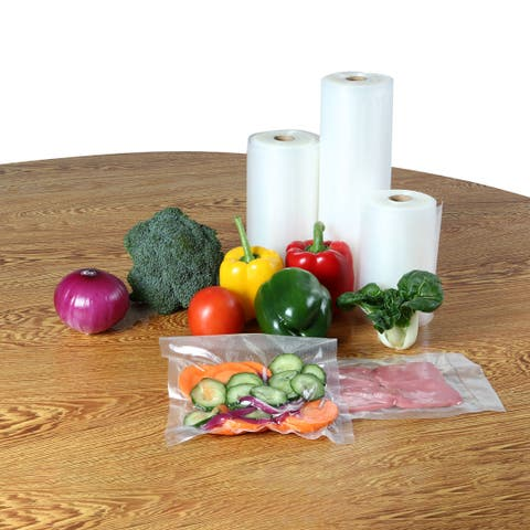 "4 Rolls Textured Vacuum Vegetable Food Sealer Saver Seal Bags Storage Roll Clear 50ft Length - 2 Rolls 8""+2 Rolls 11"""