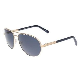 Ermenegildo Zegna EZ0011/S 28V Rose Gold and Navy Blue Aviator Sunglasses - rose gold and navy blue - 62-16-140