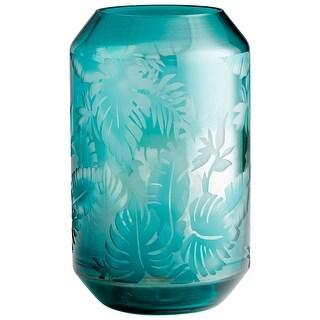 """Cyan Design 10016  Sumatra 8-1/4"""" Diameter Glass Vase - Turquoise"""