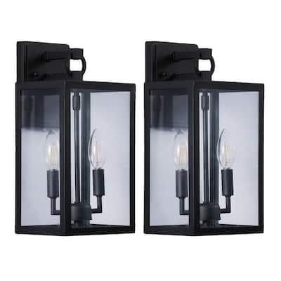 Cedar Hill 14 in. 2-light Black Outdoor Wall Lantern (Set of 2)