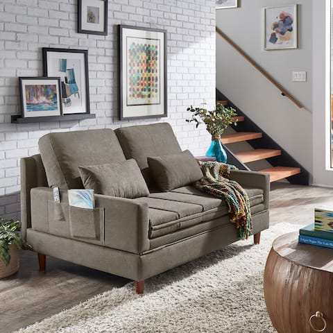 Cicero Grey Fabric Upholstered Convertible Settee by iNSPIRE Q Classic