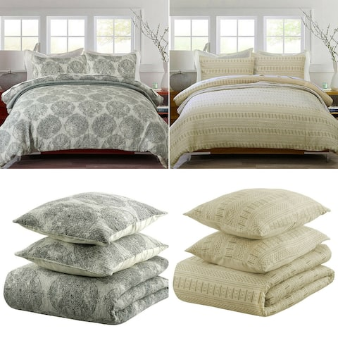 Pieridae 3 Piece Washed Textured Cotton Duvet Cover Set