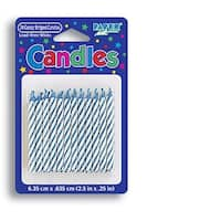 Pack Of 24 Candy Striped Candles Blue
