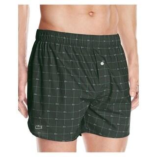 Lacoste Authentics Croc Forest Green Check Boxers Underwear Small