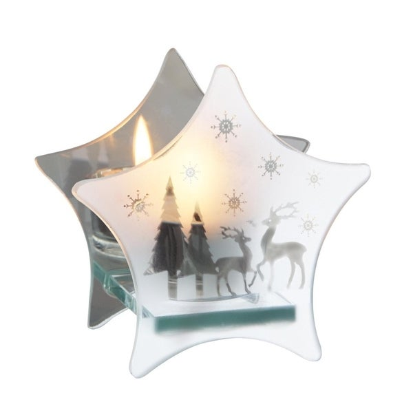 "4.25"" Frosted Glass Snowflake & Reindeer Mirrored Star Christmas Tea Light Candle Holder"