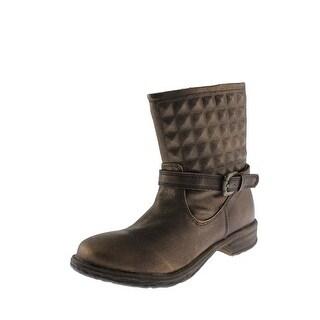 Very Volatile Womens Phantom Metallic Round Toe Ankle Boots - 6.5 medium (b,m)