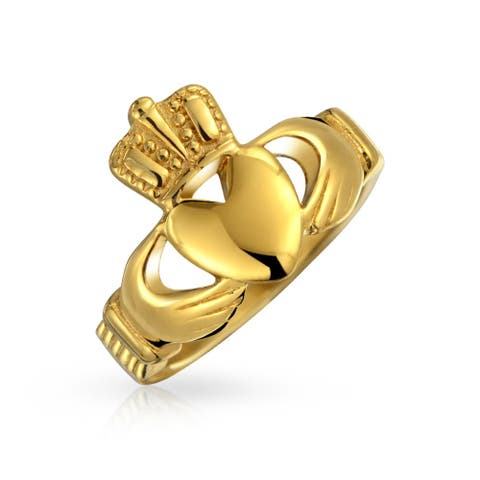 BFF Celtic Irish Friendship Couples Promise Claddagh Ring For Men For Women 14K Gold Plated Stainless Steel