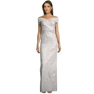Teri Jon V-Neck Off Shoulder Column Evening Gown Dress Silver