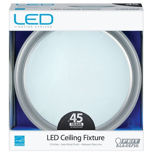 Feit Electric 73808 Flush Mount LED Ceiling Fixture, Satin Nickel, 120 V