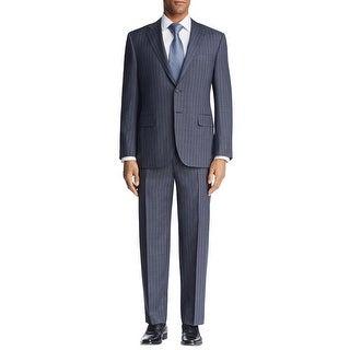 Hugo Boss Mens Grand Central Regular Fit Stripes Wool Suit 40R Blue Pants 34W