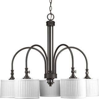 """Progress Lighting P4422 Clayton 5 Light 32"""" Wide Chandelier with Pleated Fabric Shades"""