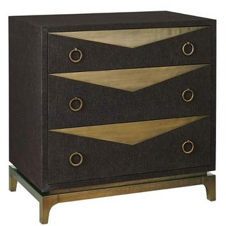 """Currey and Company 3257 Cadena 32"""" Wide Three Drawer Chest - natural linen black / bronze"""