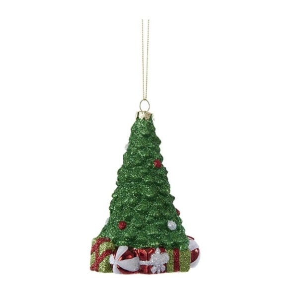 "4.25"" Glittered Tree with Presents Decorative Christmas Ornament - green"