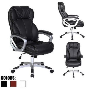 2xhome Black Leather Deluxe Professional Ergonomic High Back Executive Office Chair