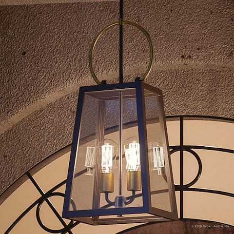 """Luxury Vintage Outdoor Pendant Light, 26.875""""H x 11.25""""W, with Farmhouse Style Elements, Olde Bronze Finish by Urban Ambiance"""