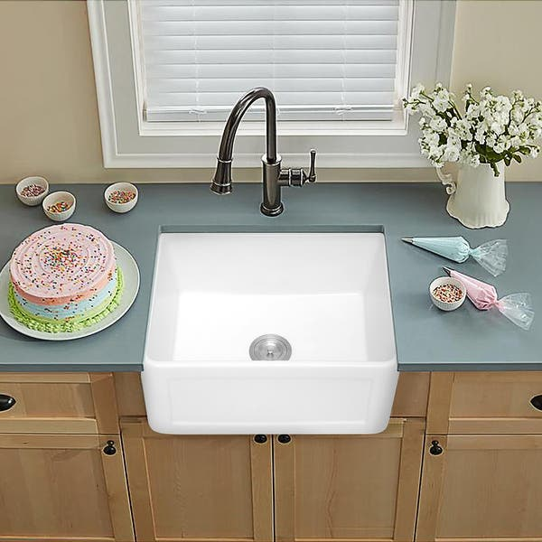 24 Inch White Porcelain Ceramic Fireclay Farmhouse Sink Overstock 31296412