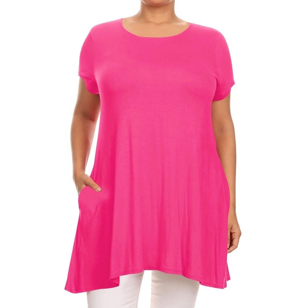 Womens Solid Plus Size Loose Fit Tunic Top