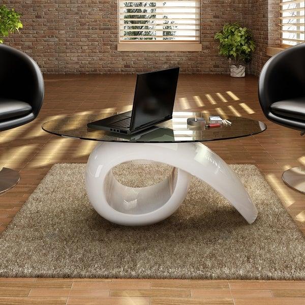 Vidaxl High Gloss Coffee Table White: Shop VidaXL Glass Top Coffee Table High Gloss White