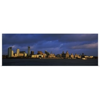 """""""City at the waterfront Liverpool River Mersey Merseyside England"""" Poster Print"""