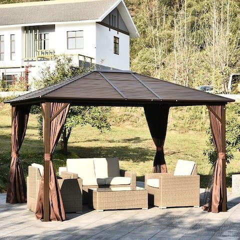 Outsunny Steel Hardtop Outdoor Gazebo (12' x 10')