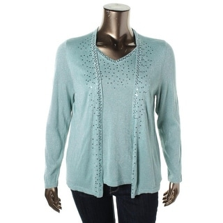 NY Collection Womens Metallic Sequined Pullover Sweater - XL