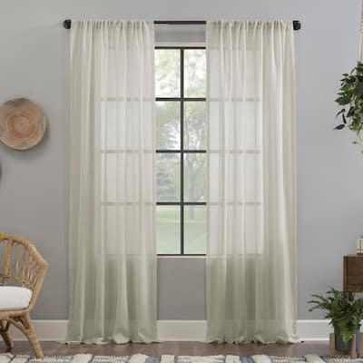 Clean Window Crushed Texture Anti-Dust Sheer Linen Blend Curtain Panel, Single Panel
