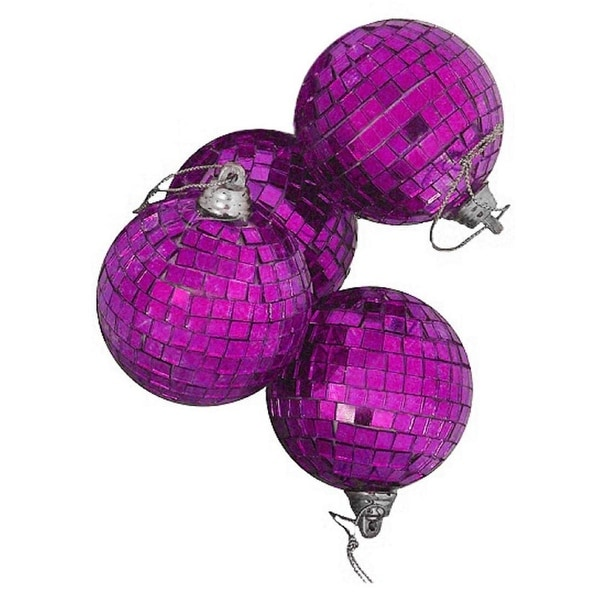 "4ct Purple Mirrored Glass Disco Ball Christmas Ornaments 4"" (100mm)"