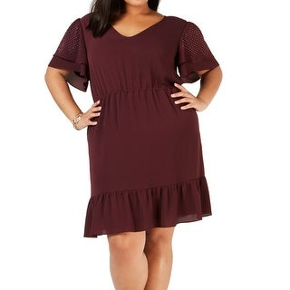 Link to MICHAEL Michael Kors Women's Dress Purple Size 2X Plus V-Neck Studded Similar Items in Dresses