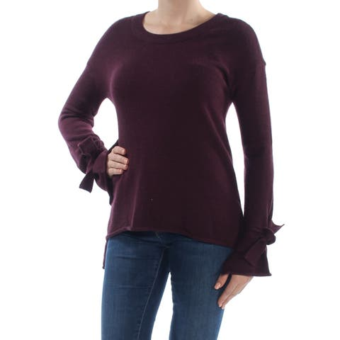 BAR III Womens Burgundy Tie Cuff Bell Sleeve Jewel Neck Tunic Sweater Size: S