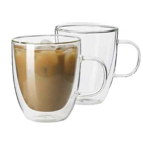 Homvare Glass Coffee Mug, Tea Cup for Office and Home Suitable for Both Hot and Cold Beverage