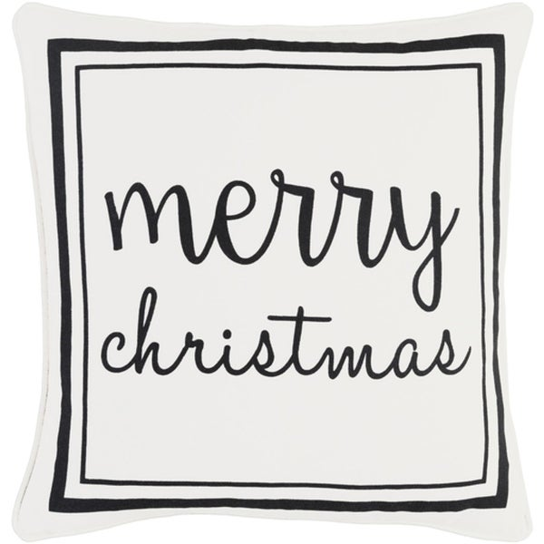"18"" Jet Black and Polar White Decorative ""Merry Christmas"" Holiday Throw Pillow"