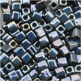 Miyuki 4mm Glass Square Cube Beads Gun Metal Iris 456 10 Grams