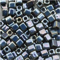 Miyuki 4mm Glass Square Cube Beads Gun Metal Iris 456 10 Grams