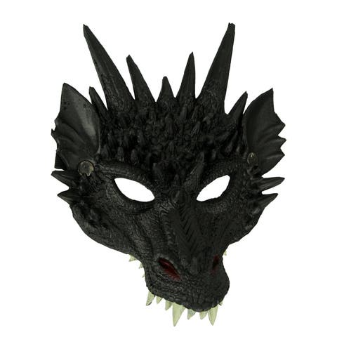 Black Horned Dragon Foam Rubber Adult Halloween Mask Costume Accessory - 11 X 8.75 X 7.5 inches