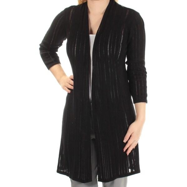 Shop Alfani Womens Black 34 Sleeve Open Cardigan Sweater Size S