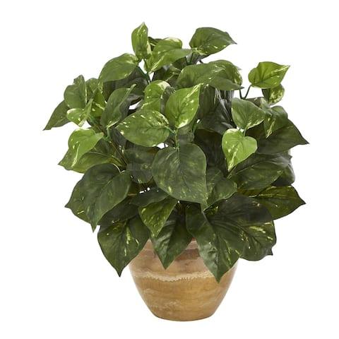 "14"" Pothos Artificial Plant in Ceramic Planter"
