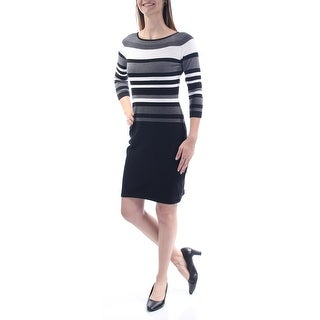 Womens Black Striped 3/4 Sleeve Above The Knee Sheath Dress Size: XS