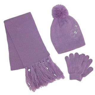 ClimaZer0 Girl's Flower Beanie Hat and Scarf Winter Set