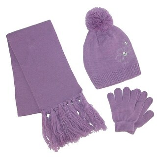 ClimaZer0 Girl's Flower Beanie Hat and Scarf Winter Set