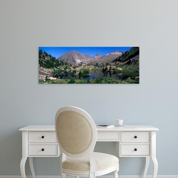 Easy Art Prints Panoramic Image 'Lake Surrounded By Mountains, Mercantour, Hinterland, French Riviera' Canvas Art